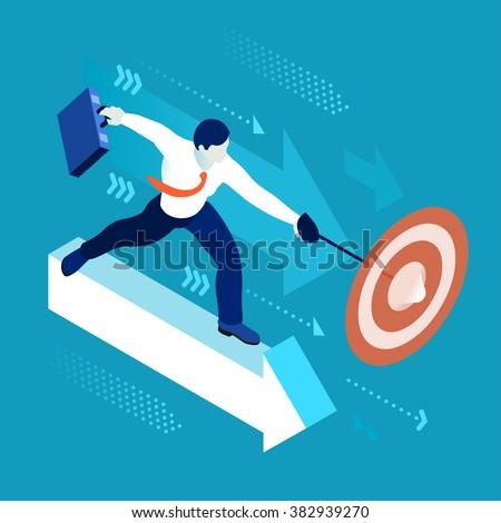 Business Leader Character Finance Manager Businessman. Business Leadership Management. 3D Flat Center Goal People Illustration. Data Scientist Man Business Vector concept Image. Business Men Leaders. - stock vector