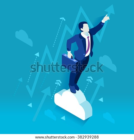 Business Leader Character Finance Manager Businessman. Business Leadership Management. 3D Flat Isometric People Illustration. Data Scientist Man Business Vector concept Image. Business Men Leaders. - stock vector
