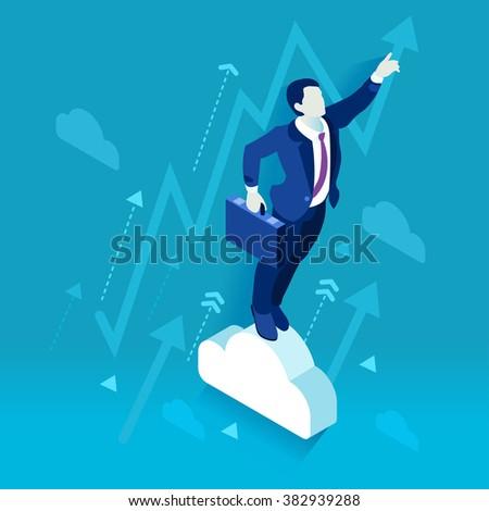 Business Leader Character Finance Manager Businessman. Business Leadership Management. 3D Flat Isometric People Illustration. Data Scientist Man Business Vector concept Image. Business Men Leaders. - stock vector