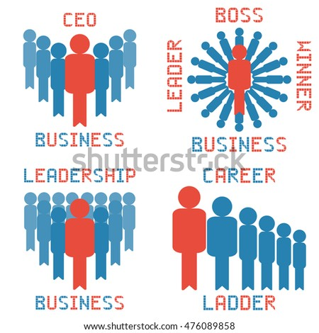 business leader vector set on the white background