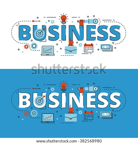 Business lettering flat line design with icons and elements for book cover, report header, presentation,illustration, infographics, printing, website banner and landing page. - stock vector