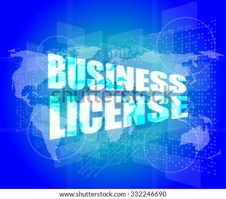 business license on digital touch screen vector illustration - stock vector
