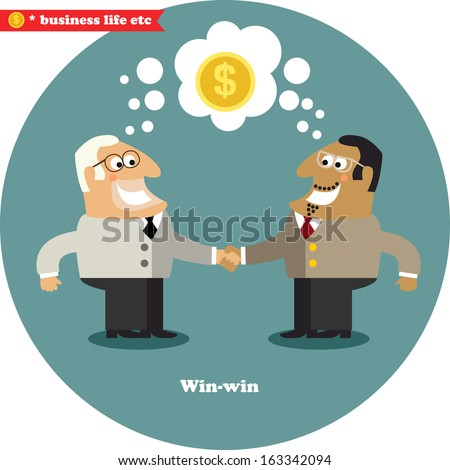 Business life. Business handshake on a big deal, win-win vector illustration - stock vector
