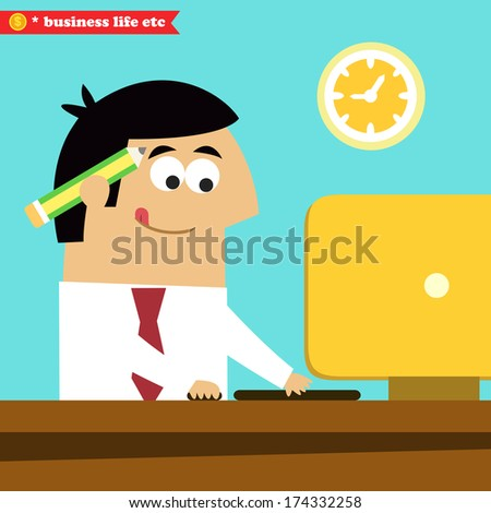 Business life. Manager working diligently on the computer vector illustration - stock vector