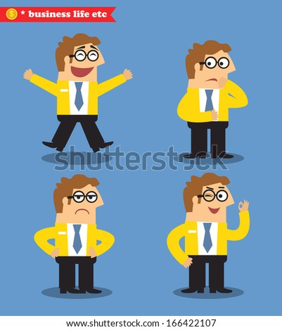 Business life. Office emotions poses set vector illustration