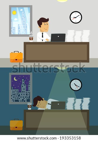 Business life workaholic worker in office day and night scene vector illustration - stock vector