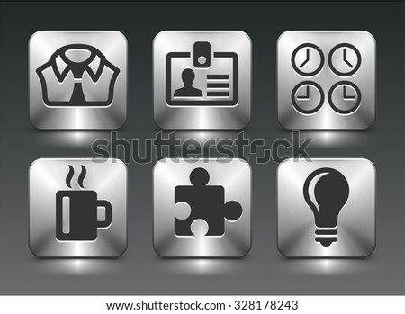 Business Lifestyle on Silver Square Buttons