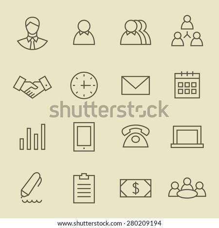 Business line icon set - stock vector