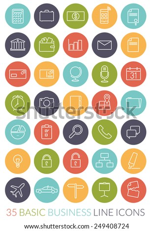 Business Line Icon Vector Set. Collection of 35 basic business line icons in colored circles - stock vector