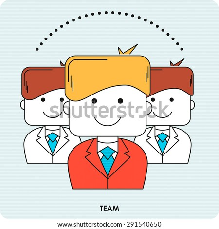 Business line icon with flat design element of teamwork organization, group of business people, corporate management, company successful workflow. Vector illustration. - stock vector