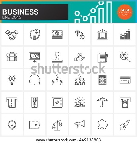 Business line icons set, outline vector symbol collection, linear pictogram pack isolated on white, pixel perfect logo illustration