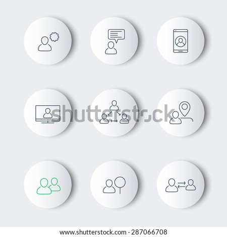 business line modern round icons with people, vector illustration, eps10, easy to edit - stock vector