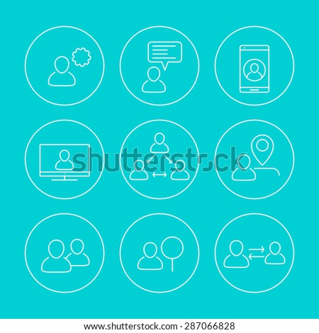 business line round icons with people, vector illustration, eps10, easy to edit - stock vector