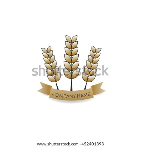 Business logo template. Three spikelets. Beer or agricultural industry. Vector.