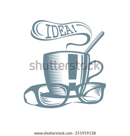Business lunch logo. Cup of tea with glasses and idea speech balloon. - stock vector