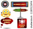 Business lunch set on a white background - stock vector