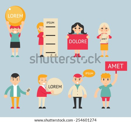 Business Male and Female Characters with Billboard Advertising Poster Sign Expressions Icons Set Flat Design Concept Vector Illustration - stock vector