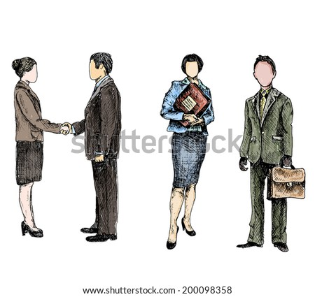 Business male female people colored sketch set isolated vector illustration