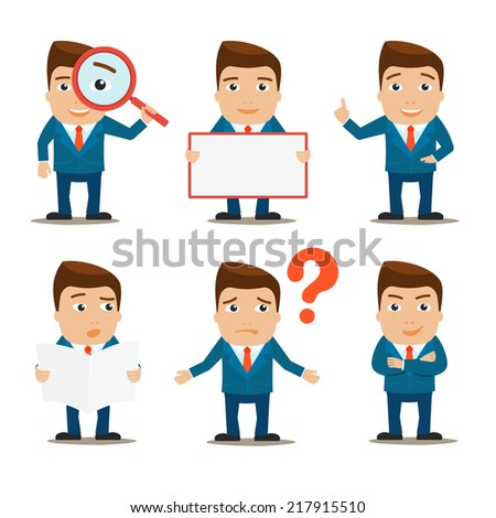 Business male office professional characters set isolated vector illustration - stock vector