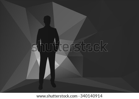 Business man, abstract background, standing man