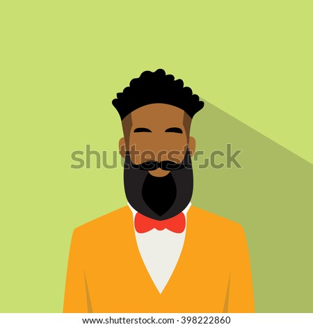 Business Man African American Ethnic Beard Portrait Flat Vector Illustration