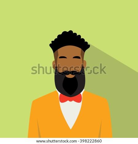 Business Man African American Ethnic Beard Portrait Flat Vector Illustration - stock vector