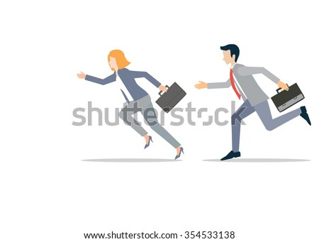 Business man and business woman in rush competing run, business competition conceptual vector illustration. - stock vector