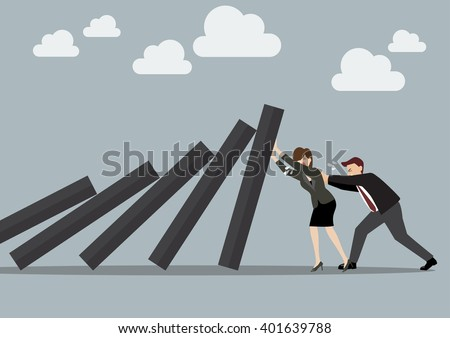 Business man and business woman pushing hard against falling deck of domino tiles. Business Concept - stock vector