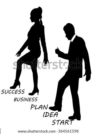 Woman Stepping On Man Woman Climbing ...