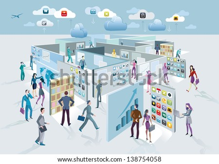 Business man and business women walk among large screens displaying information. These screens forming a labyrinth. - stock vector
