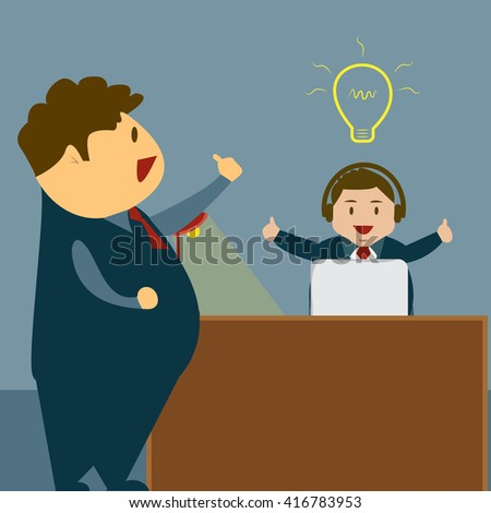Business Man and idea lamp, Sitting Desk Office Working Place,Satisfied boss with thumb up , Flat Vector Illustration.