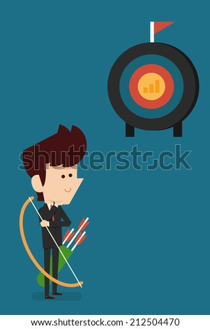 business man and target flat design. - stock vector