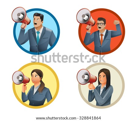 business man and woman advertise some information with megaphone.Four people with megaphone.Illustration for idea of business.Approach to communication for business. Graphic design and vector EPS 10. - stock vector