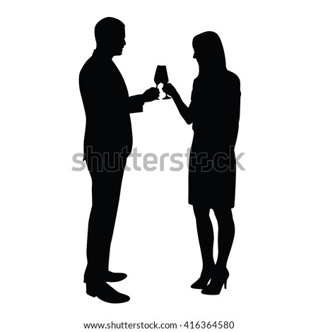 Business man and woman celebrating with a glass of champagne. Vector silhouettes of a young couple who toasts to the birthday celebration, success, anniversary - stock vector