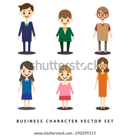 business man and woman character vector flat style set