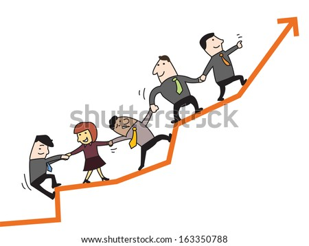 Business man and woman holding hands and go together on raising arrow, representing to corporation to success. Team work concept.   - stock vector
