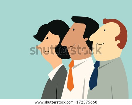 Business man and woman looking away in the same direction. Business teamwork concept. Each characters has separated layers, it is easy to move or change color.  - stock vector