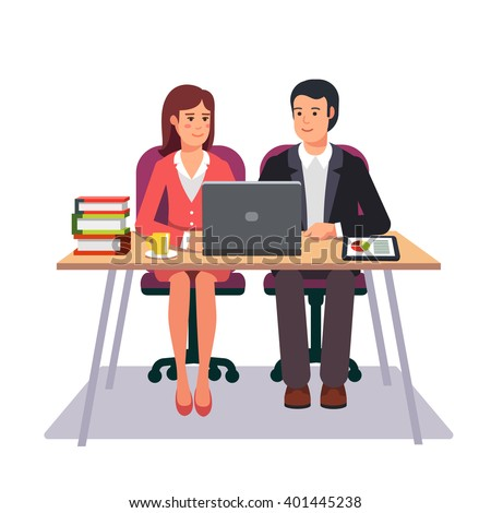 Business man and woman working together as a team sitting at one desk with laptop and tablet computers. Flat style vector illustration. - stock vector