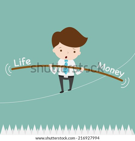Business man balancing on the rope thorns. - stock vector