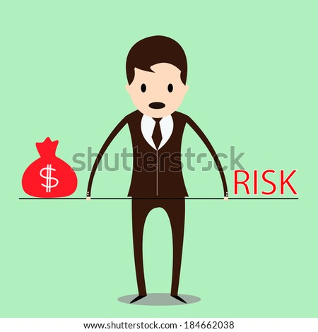 Business man balancing with money and risk - stock vector