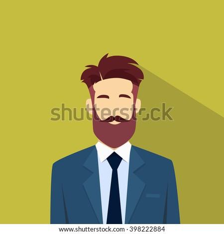 Business Man Beard Portrait Flat Vector Illustration - stock vector