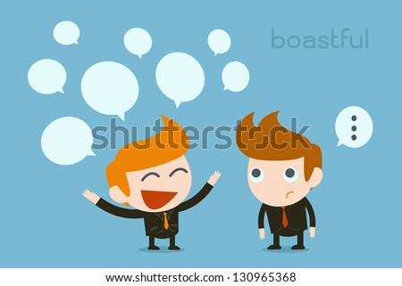 business man bragging - stock vector