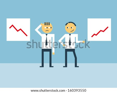 Business man bragging in front of his less fortunate fellow - stock vector