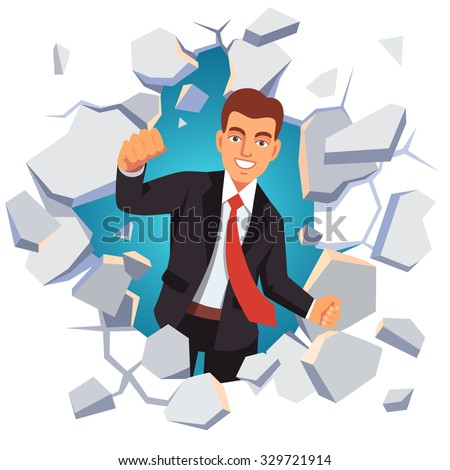 Business man breaking through white concrete wall. Leadership concept. Flat style vector illustration isolated on white background. - stock vector