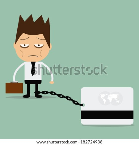 Business man burden with credit card. - stock vector