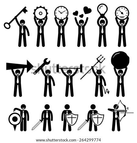 Business Man Businessman Using Various Objects Stick Figure Pictogram Icons - stock vector