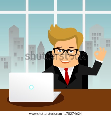Business man cartoon character. Man with PC laptop - stock vector