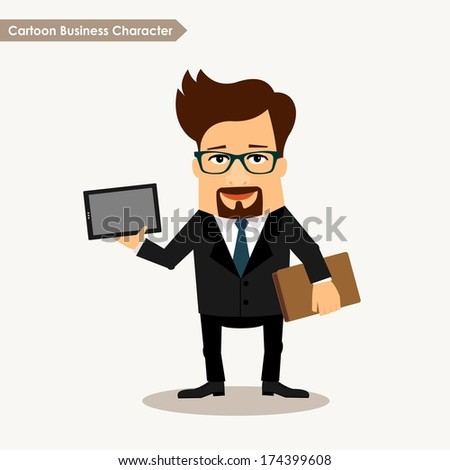 Business man cartoon character. Man with PC tablet - stock vector