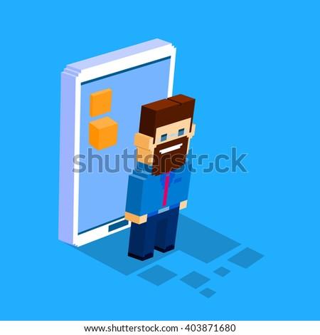 Business Man Cell Smart Phone Social Network Communication Concept 3d Isometric Flat Design Vector Illustration - stock vector