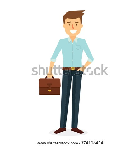Business Man Character Design. Vector Illustration - stock vector